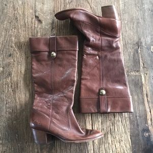 Coach Fayth Whisky Brown Leather Boots Size 8